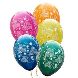 """Воздушные шары """"С днем рождения"""" (звездочки)"""